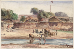 'Sketch from my Tents at Akala, Kattywar. 13th January 1869'.
